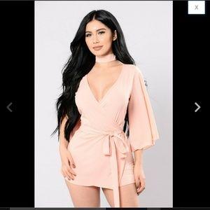 Blush Bell Sleeve Choker Cut Out Skirt Romper S
